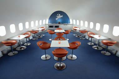 Lounge/Cafe aboard the Jumbo Hostel