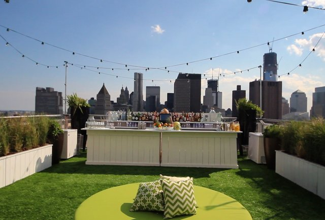 Fresh cocktails on a roof