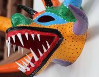 Colorful dragonhead sculpture