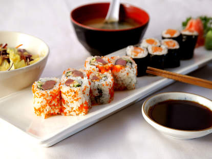 A plate of sushi rolls