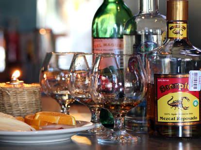 Glasses and bottles at Cantina El Milamores