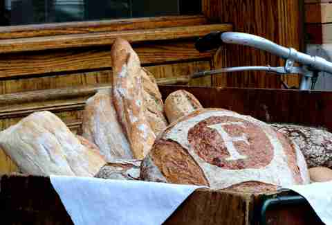 An assortment of crusty breads at La Fournette.