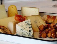Assorted cheeses.