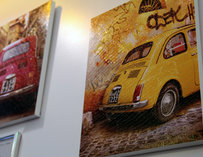 Photos of cars on the wall