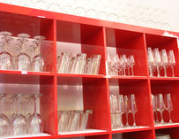 Shelves with glasses