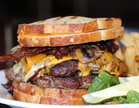 Rookies Burger: a 2lb monster in betweet two grilled cheeses.