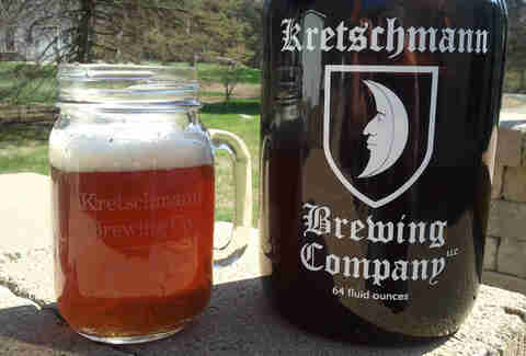 Glass and growler from the Kretschmann Brewing Company