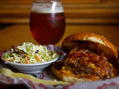 Burger and coleslaw at Republic Social House