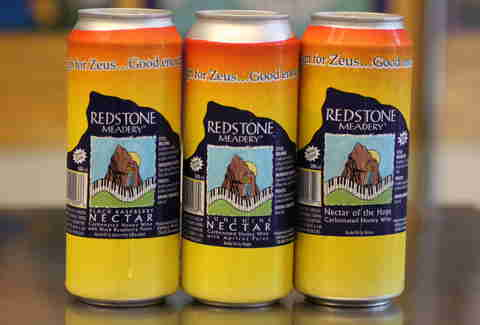 cans of Redstone Meadery's mead
