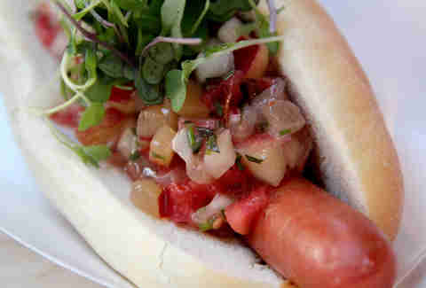 The Hot Diggity cart's Stonefruit dog at Brooklyn Flea Philly