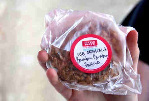 An oatmeal cookie ice cream sandwich from Little Baby's at the Brooklyn Flea Philly