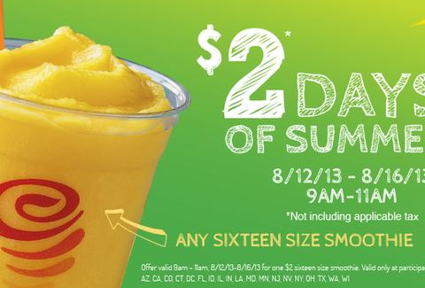Jamba Juice $2 smoothies