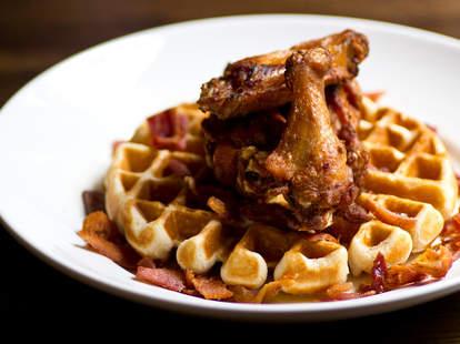 bacon bourbon chicken and waffles - the albert - atlanta