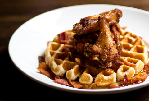 bacon bourbon chicken and waffles - the albert - atlanta