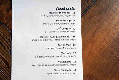 Cocktail menu at Ribelle