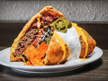 Supreme Nacho Burger at Slater's 50/50 in Liberty Station San Diego.