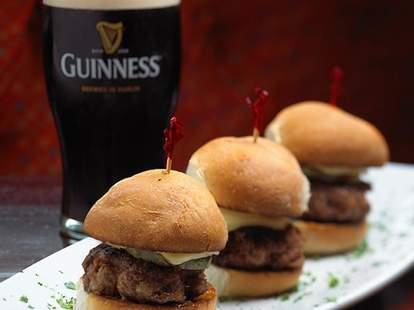 Sliders and Guinness at Fado Irish Pub