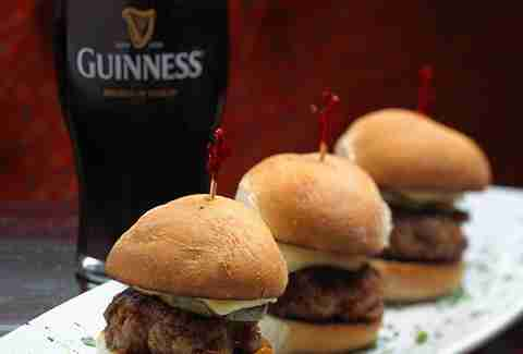 Sliders and Guinness at Fado Irish Pub