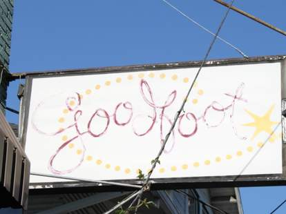 The sign in front of The Goodfoot