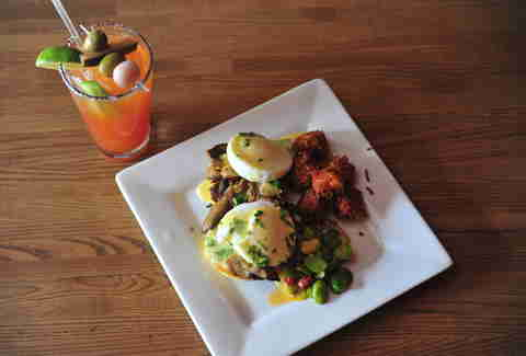 shaved lamb benedict at Vesper Lounge