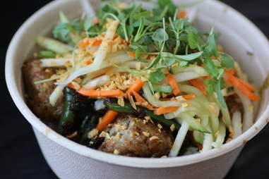bowl of pork/ chicken meatballs at Shophouse