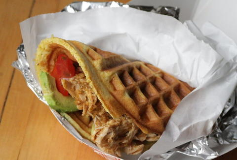 pulled pork waffle taco from Waffle & Wolf - NYC
