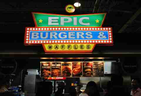 Epic Burgers & Waffles sign