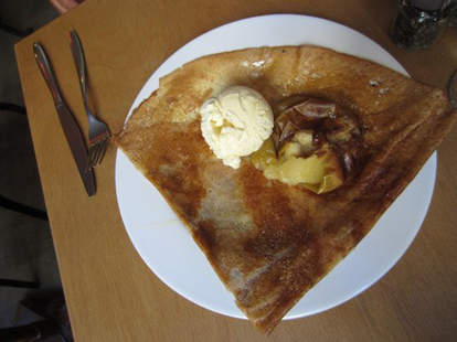Apple Crêpe with Vanilla Ice Cream at West Country Girl