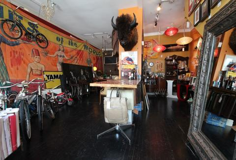 Roadtrip's interior holds an array of eclectic items, such as a buffalo head.