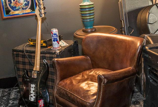 Grilled cheese sliders & paperbag beers inside the Hard Rock