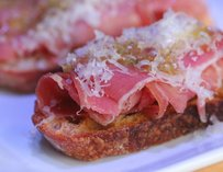Toast with ham at Theory Vodka Bar in Seattle