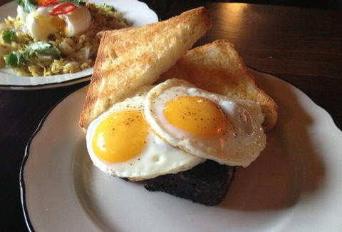 Eggs and black pudding at Maison Publique in Montréal