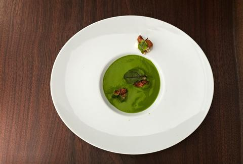 watercress soup with veal sweetbreads from Musket Room - NYC