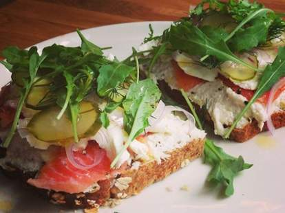 open faced smoked salmon sandwich from Maiden Lane - NYC