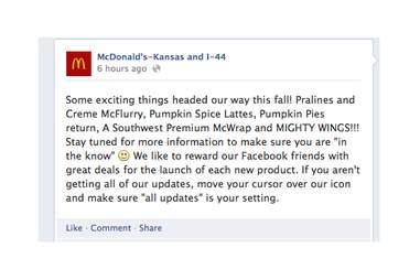 McDonald's Kansas and I-44 Facebook