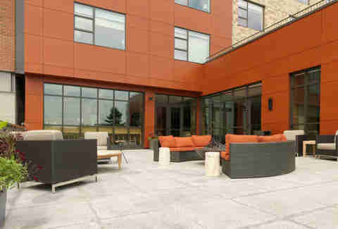 Hotel exterior patio seating