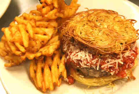 PYT's Spaghetti Burger with waffle fries