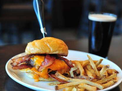 Double Decker burger at Churchill's
