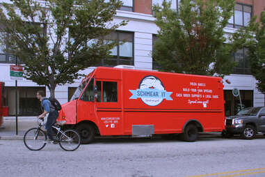 The Schmear It Truck parked at 33rd and Arch Sts on the Drexel Campus