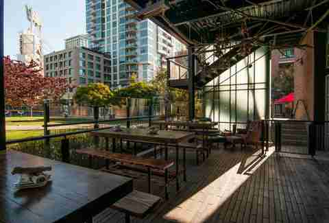 The back patio facing Petco Park at Southpaw Social Club in San Diego's East Village.
