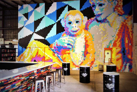Post-it Note mural of Michael Jackson and Bubbles at Modern Times Brewery's tasting room.