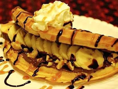 Banana Nutella waffle at Kitty Corner Cafe