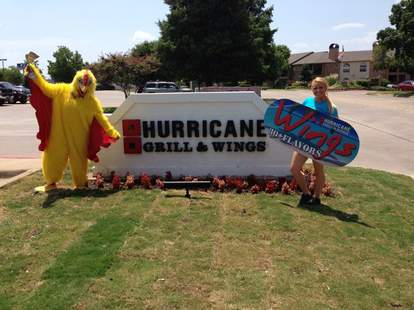 Hurricane Grill & Wings sign and mascot