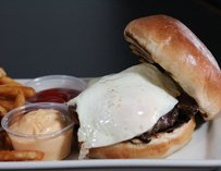 Burger with fried egg at Prohibition in Los Angeles