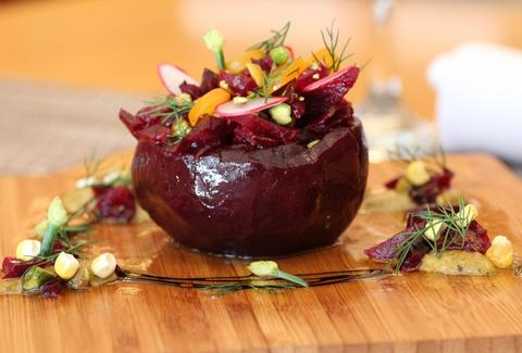 A beet stuffed with vegetables.