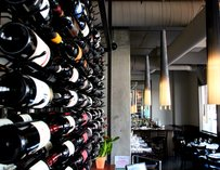 Wine rack at Volterra in Kirkland