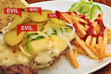 Evil pickles on a burger
