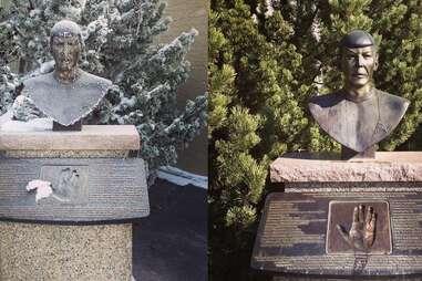 Spock busts in Vulcan, Alberta.