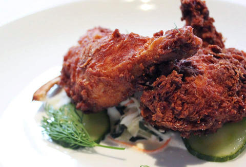 The fried chicken at Kevin Sbraga's Sbraga.