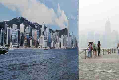 Clear skyline pictures on smoggy Hong Kong coastline